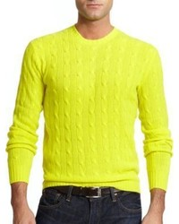 Men S Yellow Cable Sweaters By Polo Ralph Lauren Lookastic