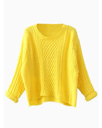 Choies Yellow Twists Knit Short Jumpers