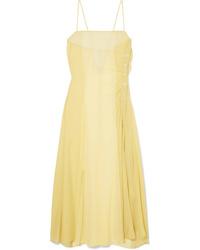 Acne Studios Delila Button Embellished Silk Chiffon And Dress