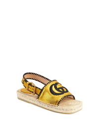 Gucci Pilar Embroidered Double G Logo Slingback Espadrille Sandal