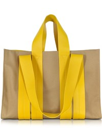Corto Moltedo Costanza Beach Club Yellow Leather And Sand Canvas Tote Bag