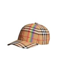 Burberry Rainbow Stripe Vintage Check Baseball Cap