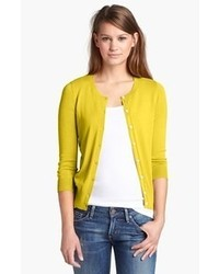 Women's Yellow Cardigan, Charcoal Crew-neck T-shirt, Navy Skinny ...