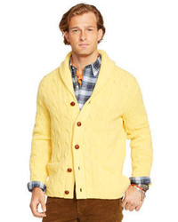 Men's Yellow Cardigan, White and Black Plaid Long Sleeve Shirt ...