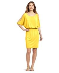 Echo Design Solid Open Shoulder Dress