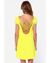 1a756de9993e02 LuLu*s Lulus Double Crosser Bright Yellow Shift Dress, $48 | Lulu's ...