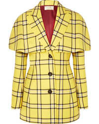 Sara Battaglia Cape Effect Checked Wool Blazer