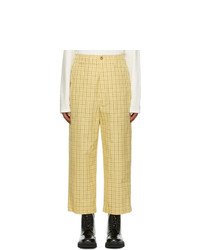 Gucci Yellow Vintage Windowpane Check Trousers