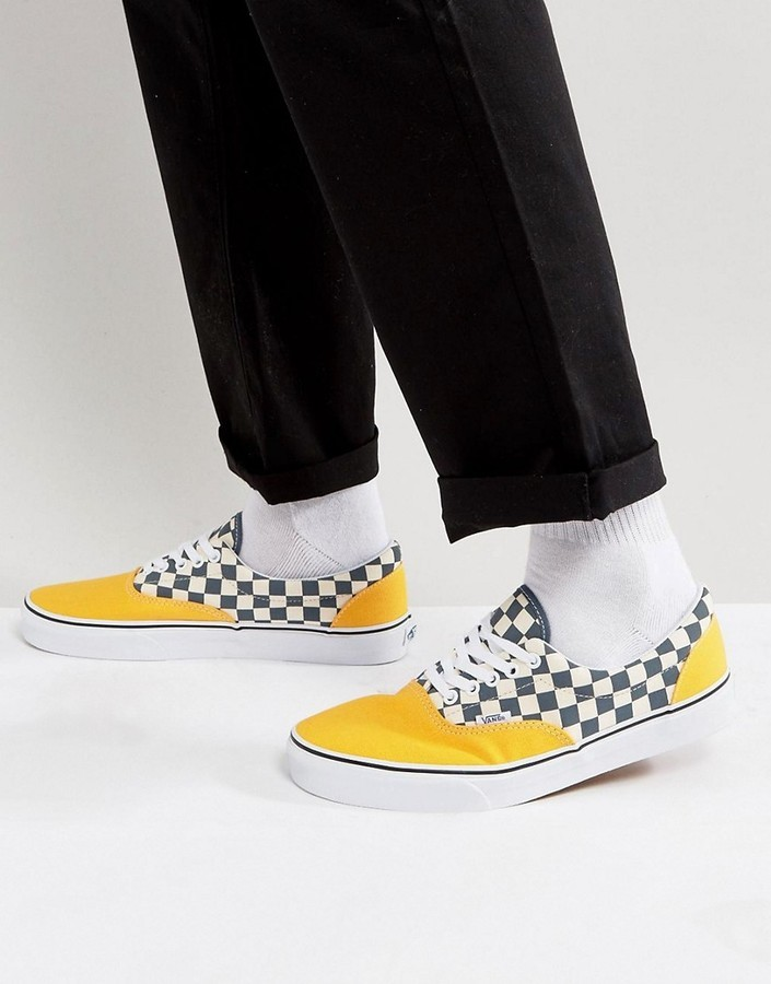 Vans Era Checkerboard Sneakers In Yellow Va38frmv3, $58 | Asos ...