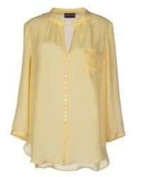 Yellow Chiffon Button Down Blouse