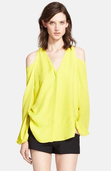cfabaa1fc49 Tamara Mellon Cold Shoulder Silk Georgette Blouse, $350 | Nordstrom ...