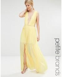Boohoo petite pleated strappy side maxi dress medium 1041349