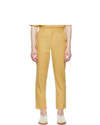 Auralee Beige Wool Hard Twist Dobby Slit Trousers