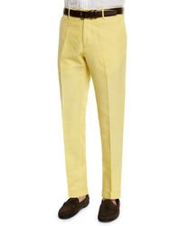 Incotex Chinolino Linen Blend Trousers Yellow