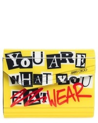 Candy you are what you wear asymmetrical flap clutch yellow medium 633373