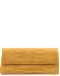 Nancy Gonzalez Gotham Crocodile Flap Clutch Bag Yellow Matte