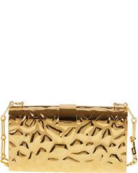 Edie Parker Rebekah Metal Giraffe Pattern Clutch Bag Golden