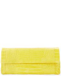 Nancy Gonzalez Soft Flap Crocodile Clutch Bag Yellow