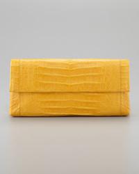 Nancy Gonzalez Soft Flap Crocodile Medium Clutch Bag Marigold