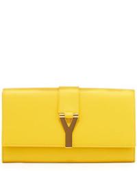 Saint Laurent Y Ligne Clutch Bag Yellow