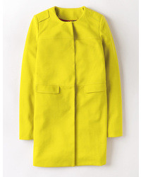 Women 39 s yellow overcoat mint leather clutch blue skinny for Boden yellow coat
