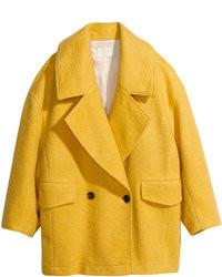 H&M Boxy Coat Yellow Ladies