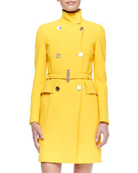 Versace Collection Double Breasted Belted Coat Yellow