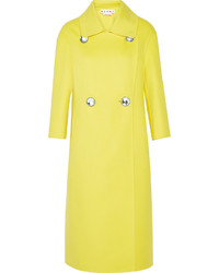 Marni Double Breasted Wool Cashmere And Angora Blend Coat