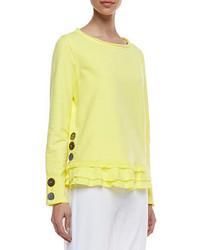 Neon Buddha Cape Side Ruffled Hem Pullover Seascape Button Cuff Capri Pants