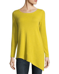 Neiman Marcus Cashmere Collection Long Asymmetric Crewneck Cashmere Pullover