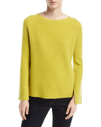 Neiman Marcus Cashmere Collection Long Split Sleeve Crewneck Ribbed Cashmere Sweater