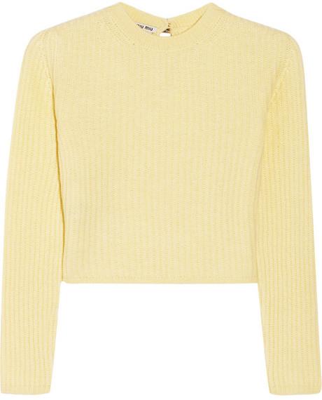 bb2b45484bbe ... Miu Miu Cropped Ribbed Cashmere Sweater ...