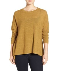 Eileen Fisher Merino Wool Ballet Neck Elliptical Hem Sweater