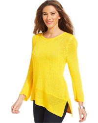 Ny Collection Scoop Neck Asymmetrical Hem Sweater