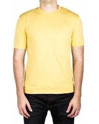 Prada Jersey Cotton Ribbed Crew Neck Logo Patch T Shirt Yellow