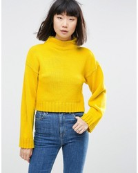 Asos Chunky Sweater In Crop With High Neck