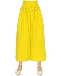DELPOZO Wide Cropped Cotton Crepe Pants