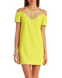 Organza cut out cold shoulder shift dress medium 81634