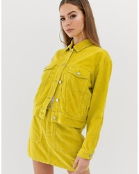 Missguided Cord Jacket Co Ord In Neon Yellow