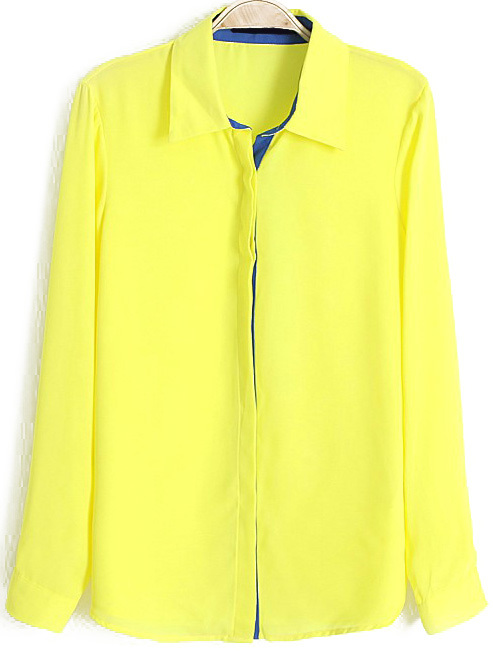 5e68cc7c0173 ... Dress Shirts Lapel With Buttons Chiffon Neon Yellow Blouse ...
