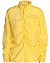 Marni Ruched Crinkled Taffeta Shirt