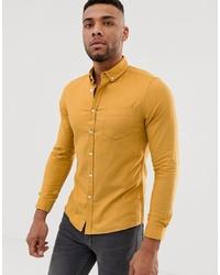 ASOS DESIGN Skinny Oxford Shirt With Collar In Mustard