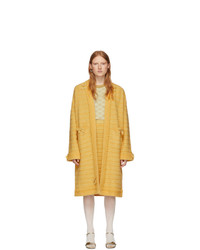 Gucci Yellow Wool Bow And Fringes Coat