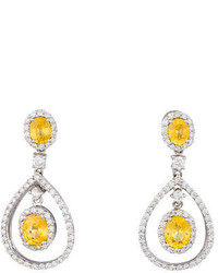 234ctw Yellow Sapphire Diamond Chandelier Earrings