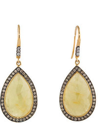 Yellow Sapphire And Champagne Diamond Earrings