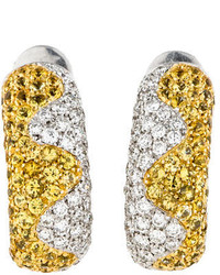 Chopard Yellow Sapphire And Diamond Huggie Earrings