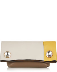 Marni Swarovski Crystal Embellished Color Block Leather Clutch