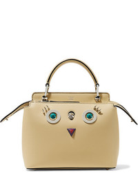 Fendi Dotcom Petite Embellished Leather Shoulder Bag Pastel Yellow