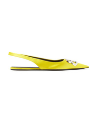 Balenciaga Knife Logo Embellished Satin Point Toe Flats