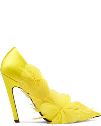 Balenciaga Feather Embellished Satin Pumps Bright Yellow